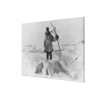 Eskimo Hunter with Polar Bear Photograph Gallery Wrapped Canvas