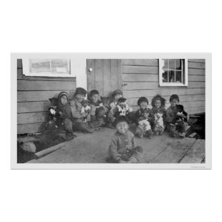 Eskimo Kids & Puppies 1904 Poster