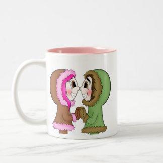 eskimo kisses Two-Tone coffee mug