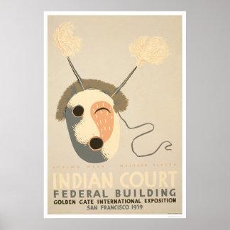Eskimo Mask Golden Gate 1939 WPA Poster