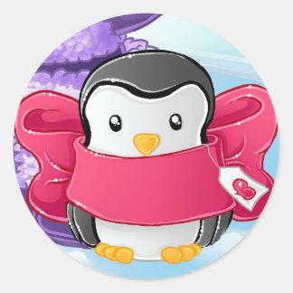 Eskimo Penguin gift Classic Round Sticker