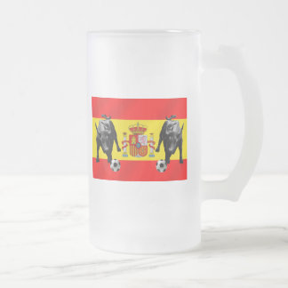 España La Furia Roja futbol Toro Flag of Spain Frosted Glass Beer Mug