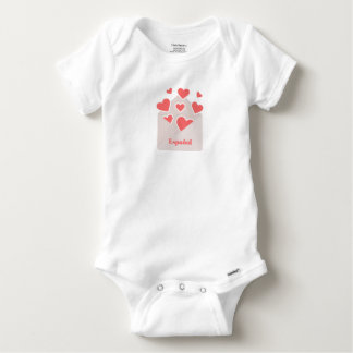 Español an envelope with hearts floating out of it baby onesie