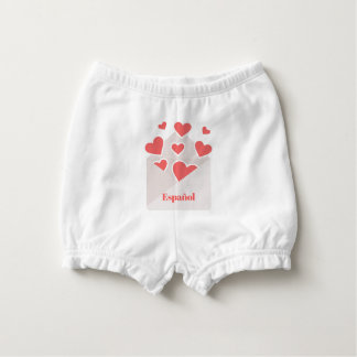 Español an envelope with hearts floating out of it nappy cover