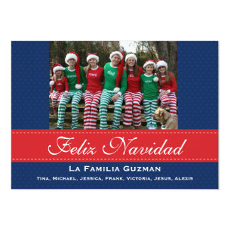 Español-Feliz Navidad / Spanish Christmas 13 Cm X 18 Cm Invitation Card