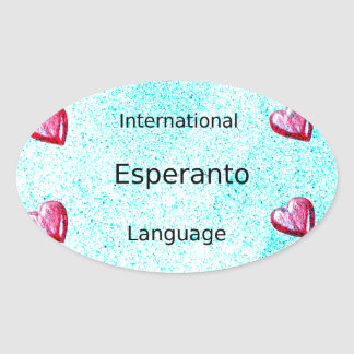 Esperanto International Language Design Oval Sticker