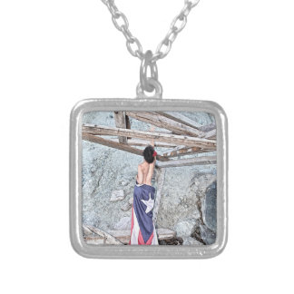 Esperanza - full image silver plated necklace