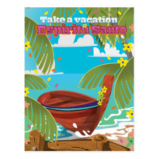 Espiritu Santo vacation travel poster. Postcard