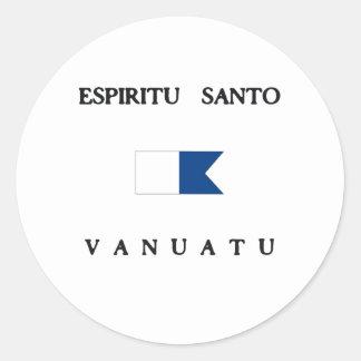 Espiritu Santo Vanuatu Alpha Dive Flag Round Sticker