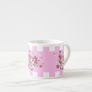 Espresso Country Style Pink White Check Floral Espresso Cups