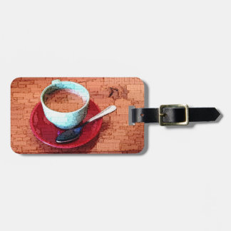 Espresso Cup and Spoon Word Cloud Luggage Tag
