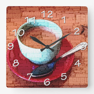 Espresso Cup and Spoon Word Cloud Square Wall Clock