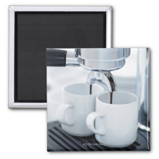Espresso machine making coffee magnet