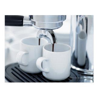 Espresso machine making coffee postcard