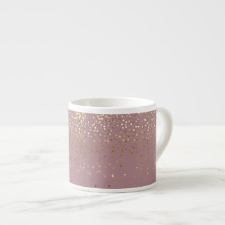 Espresso Mug-Petite Golden Stars-Mauve Espresso Cup