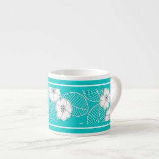 Espresso Mug Teal Blue Aqua White Damask Floral Espresso Cup