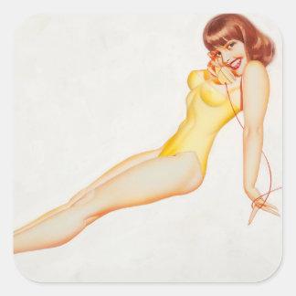 Esquire Girl calendar,October 1956 Pin Up Art Square Sticker