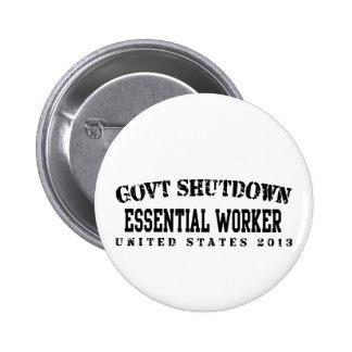 Essential Govt Shutdown Pinback Buttons