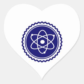Essential Science Blue Atomic Badge Heart Sticker