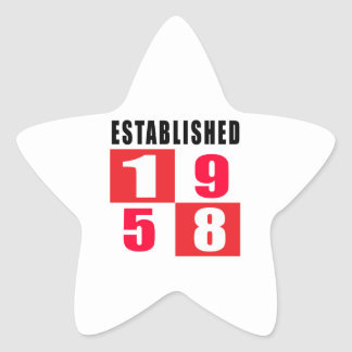 Established 1958 Birthday Designs Star Stickers