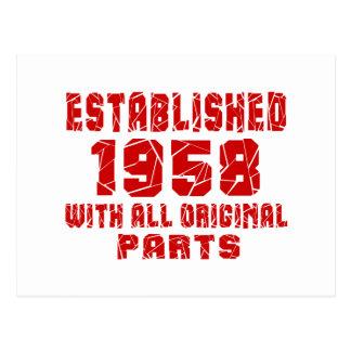 Established 1958 With All Original Parts Postcard