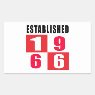 Established 1966 Birthday Designs Rectangular Sticker