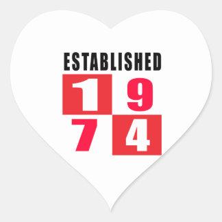 Established 1974 Birthday Designs Heart Sticker