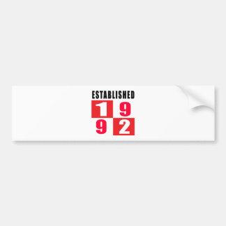 Established 1992 Birthday Designs Bumper Sticker