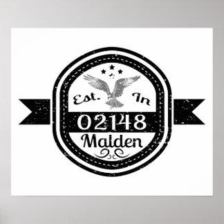 Established In 02148 Malden Poster