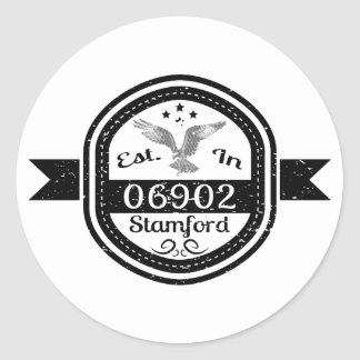Established In 06902 Stamford Round Sticker