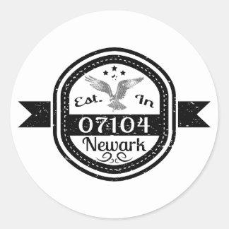 Established In 07104 Newark Classic Round Sticker