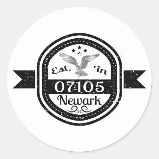 Established In 07105 Newark Classic Round Sticker