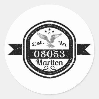 Established In 08053 Marlton Classic Round Sticker