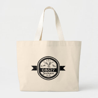 Established In 08527 Jackson Large Tote Bag
