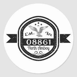 Established In 08861 Perth Amboy Classic Round Sticker
