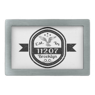 Established In 11207 Brooklyn Rectangular Belt Buckles