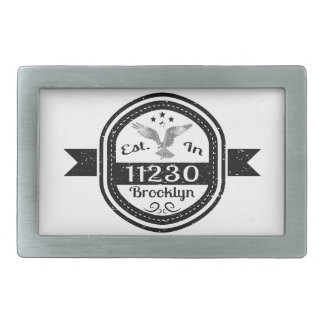 Established In 11230 Brooklyn Rectangular Belt Buckles