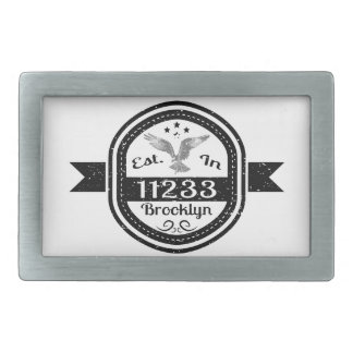 Established In 11233 Brooklyn Rectangular Belt Buckle