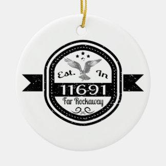 Established In 11691 Far Rockaway Round Ceramic Decoration
