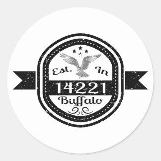 Established In 14221 Buffalo Round Sticker