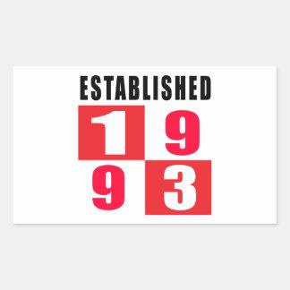 Established in 1993 rectangular sticker
