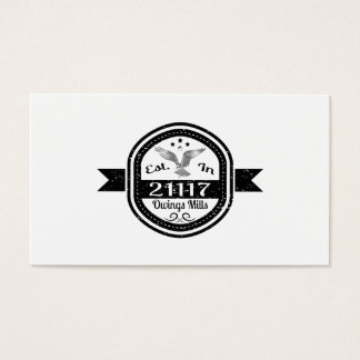 Established In 21117 Owings Mills Business Card