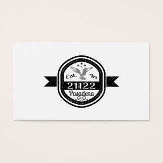 Established In 21122 Pasadena Business Card