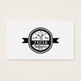 Established In 21218 Baltimore Business Card