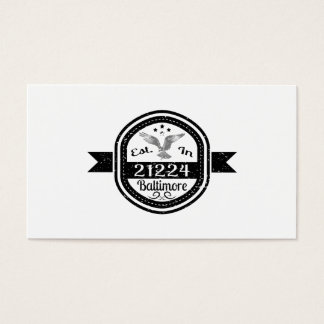 Established In 21224 Baltimore Business Card