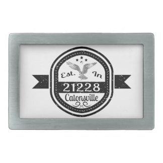Established In 21228 Catonsville Rectangular Belt Buckle
