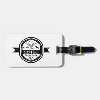Established In 23456 Virginia Beach Luggage Tag