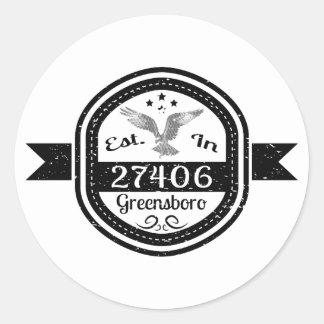 Established In 27406 Greensboro Classic Round Sticker