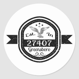 Established In 27407 Greensboro Classic Round Sticker