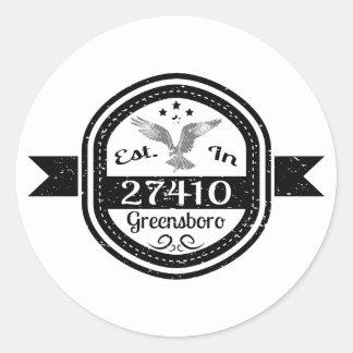 Established In 27410 Greensboro Classic Round Sticker